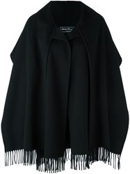 Salvatore Ferragamo Fringed Oversized Coat Black