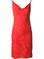 Versace Vintage Fitted Jacquard Dress Red