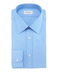 Charvet Barrel Cuff Poplin Shirt Blue 40.5 16L