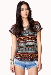 Forever 21 Multicolored Tribal Print Top Black Yellow