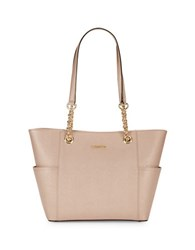 Calvin Klein Leather Wool Accented Tote Rose Gold