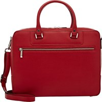 Barneys New York Saffiano Double Handled Briefcase Red