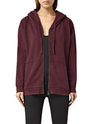 Allsaints Emmy Zip Hoodie Port Red Marl