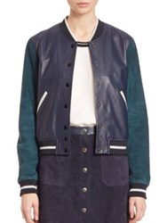 Rag And Bone Alix Two Tone Leather And Suede Jacket Navy