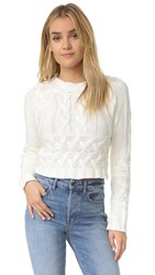 For Love And Lemons Knitz Greenwich Crop Sweater White