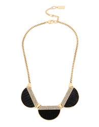 Kenneth Cole Geometric Leather Necklace Black