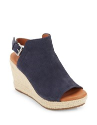 Gentle Souls Katie Nubuk Espadrille Wedge Sandals Navy Blue
