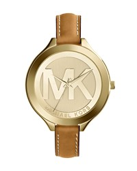Mid Size Golden Stainless Steel Slim Runway Three Hand Watch Michael Kors