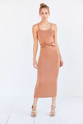 Glamorous Shimmer Knit Knotted Cutout Midi Slip Dress Copper
