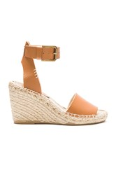 Soludos Open Toe Wedge Leather Brown