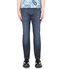 Etro Paisley Print Regular Fit Tapered Jeans Navy