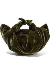 The Row Ascot Velvet Tote Army Green