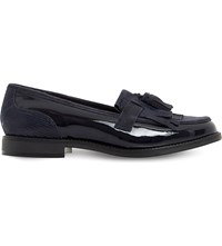 Dune Fringed Leather Loafers Navy Patent