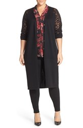 Vince Camuto Plus Size Women's Burnout Print Sleeve Maxi Cardigan