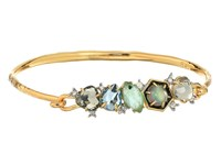 Alexis Bittar Small Mosaic Hinge W Enamel Accented Custom Cut Stone And Pave Spike Detail Bracelet 14K Gold W Rhodium