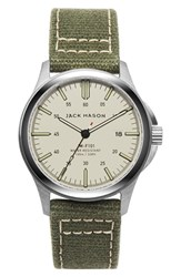 Jack Mason Brand Men's Canvas Strap Watch 42Mm Khaki Green