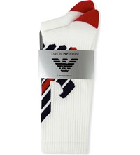 Emporio Armani Logo Print Cotton Blend Socks Pack Of Two White