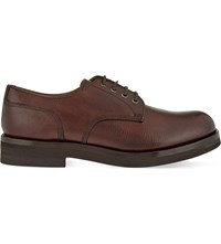 Brunello Cucinelli Lace Up Leather Derby Shoes Brown