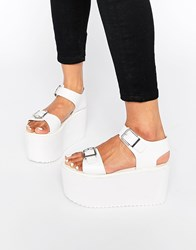 Y R U Yru Orion Flatform Strap Sandals White