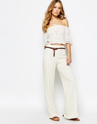 Supertrash Pilena Wide Leg Trousers In Lace Off White Cream
