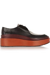 Jil Sander Ayers Paneled Leather Platform Loafers