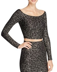 Aqua Metallic Splatter Off The Shoulder Crop Top Black Gold