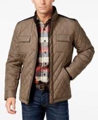 Tasso Elba Men's Water Resistant Quilted Colorblocked Jacket Only At Macy's Brown Combo