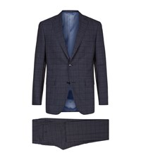 Pal Zileri Checked Two Piece Suit Male Navy