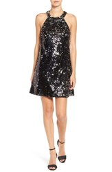 Speechless Women's Paillette A Line Dress Black Silver