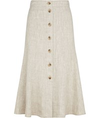 Cc Natural Linen Skirt Beige