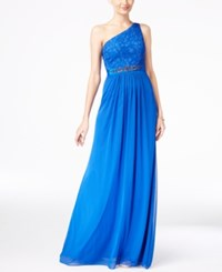 Adrianna Papell Embellished Lace One Shoulder Gown Royal