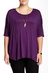 Bobeau Scoop Neck Oversized Tee Plus Size Purple