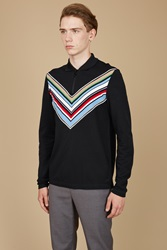 Fred Perry Chevron Zip Front Pique Shirt Black