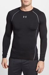 Men's Under Armour Compression Heatgear Long Sleeve T Shirt Black Steel