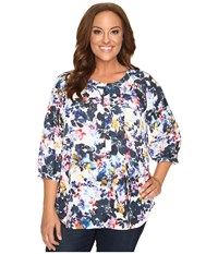 Nydj Plus Size Solid 3 4 Sleeve Pleat Back Hepburn Shadow Floral Women's Long Sleeve Button Up Multi
