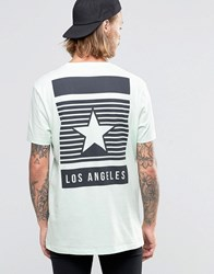 Asos Longline T Shirt With Los Angeles Star Back Print In Relaxed Skater Fit Misty Jade Green