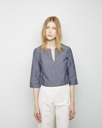 Apiece Apart Victory Cropped Tunic Chambray