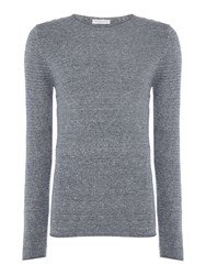 Selected Men's Homme Textured Knit Long Sleeve Cotton Jumper Blue
