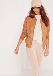 Missguided Faux Suede Zipped Bomber Jacket Tan Brown