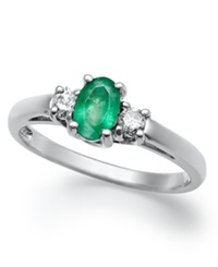 Macy's 14K White Gold Ring Emerald 3 8 Ct. T.W. And Diamond 1 8 Ct. T.W 3 Stone Ring
