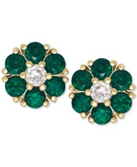 Macy's Emerald 9 10 Ct. T.W. And White Sapphire 1 6 Ct. T.W. Flower Stud Earrings In 14K Gold Yellow Gold