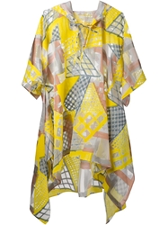 Tsumori Chisato Printed Hooded Poncho Yellow And Orange