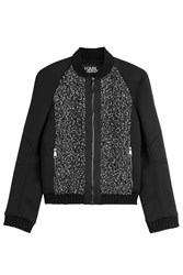 Karl Lagerfeld Bomber Jacket With Textured Panels Multicolor