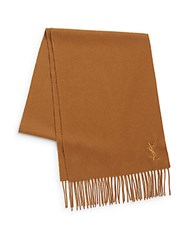 Yves Saint Laurent Wool And Cashmere Scarf Camel