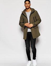 Armani Jeans Parka In Bonded Cotton Nylon Olive Green