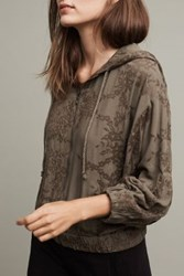 Anthropologie Embroidered Zip Up Hoodie Moss