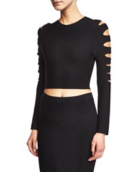 Cushnie Et Ochs Slashed Long Sleeve Crop Top Black