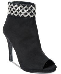 Caparros Electra Embellished Cuff Peep Toe Booties Women's Shoes Black Suede