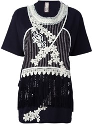 Antonio Marras Embroidered Fringed Top Black