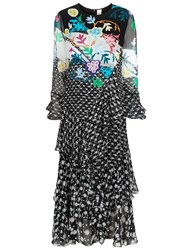 Peter Pilotto Black Silk Printed Tier Ruffle Dress